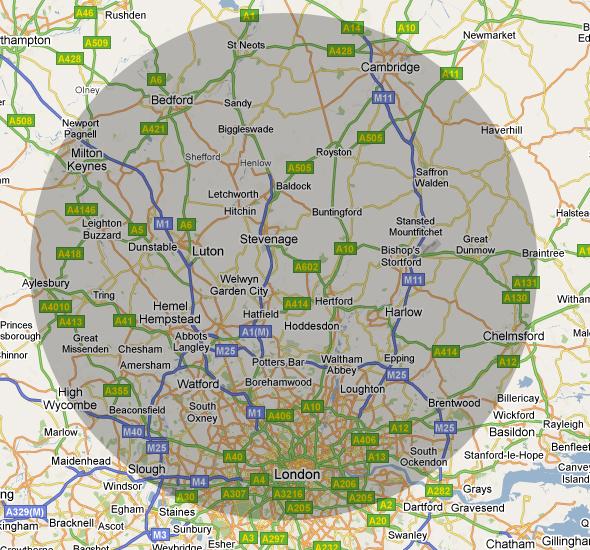 map: Limousine & Minibus Hire Coverage